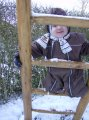 Tirsdag d. 23/1. Ude og lege i sneen. Den første sne i denne vinter.